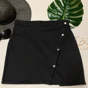 Free People NWT Notched Black Denim Mini Skirt